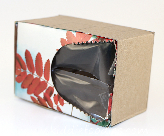 Recycled crafts for kids - forest house - tissue box, pine needles & cones, fall leaves step2b