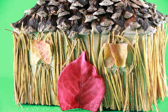 Recycled crafts for kids - forest house - tissue box, pine needles & cones, fall leaves step3a