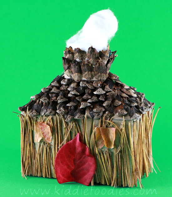 Recycled crafts for kids - forest house - tissue box, pine needles & cones, fall leaves step4