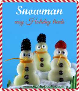 Snowman made with fruits on a stick, easy Holiday treats for kids main title