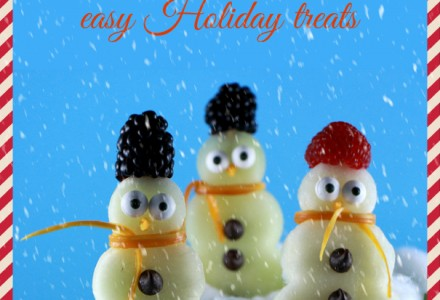 Snowman made with fruits on a stick, easy Holiday treats for kids