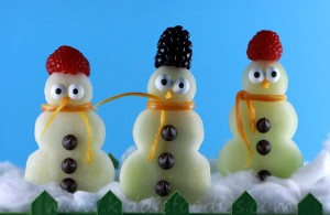 Snowman made with fruits on a stick, easy Holiday treats for kids step3