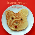 Teddy bear homemade pancakes with apples