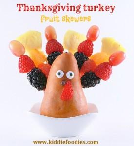 Thanksgiving turkey made of fruits, fruit skewers