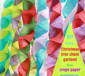 Christmas crafts for kids - how to make your own Christmas tree chain garland from crepe paper