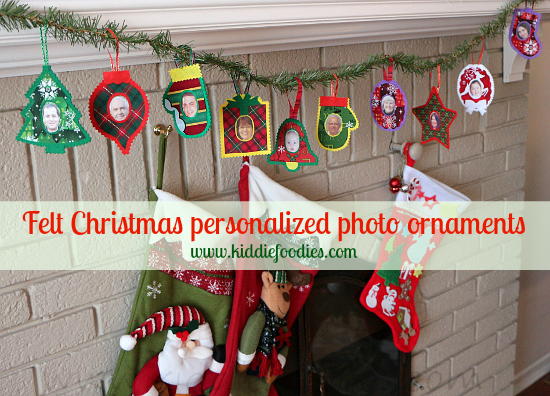 Felt Christmas personalized photo ornaments all