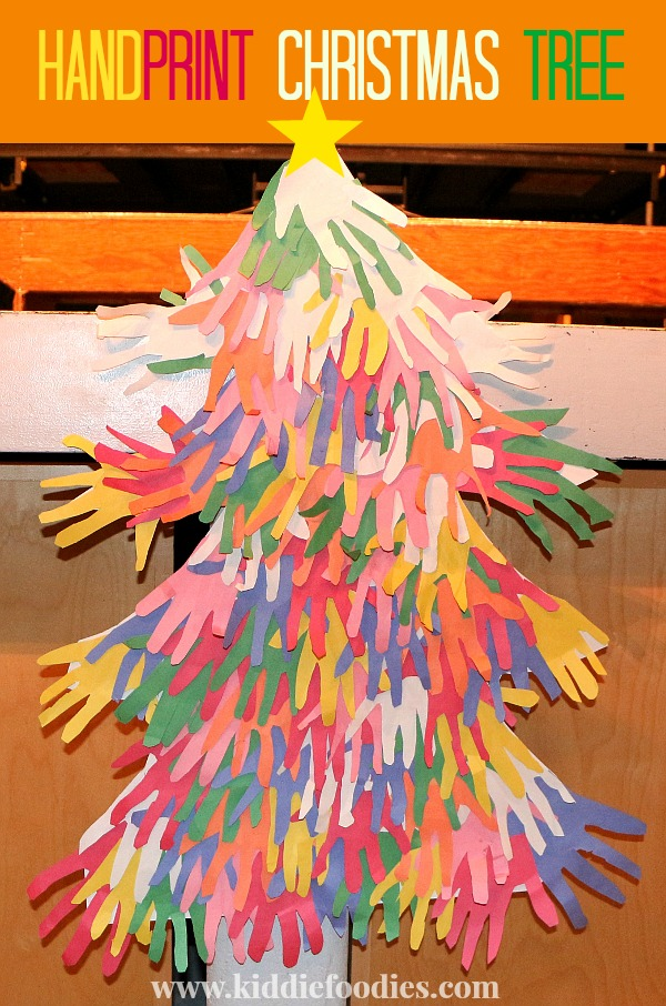 Handprint Christmas Tree - easy Christmas paper crafts for kids to make