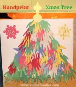 Handprint Christmas Tree - easy Christmas paper crafts for kids to make1