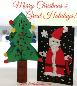 Merry Christmas - Christmas tree craft and Santa Claus card