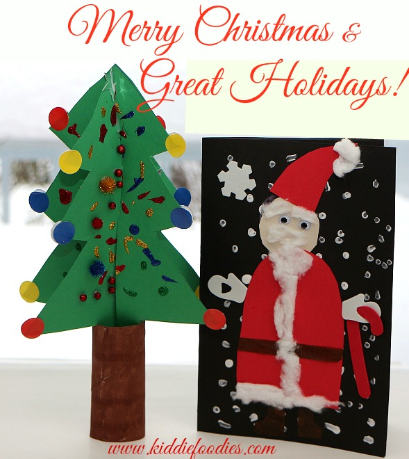 Merry Christmas - Christmas tree craft and Santa Claus card