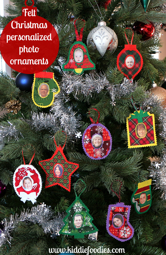No sew felt Christmas personalized photo ornaments all2