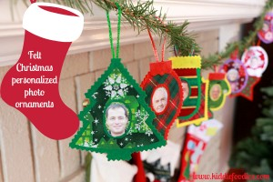 No sew felt Christmas personalized photo ornaments on the chimney