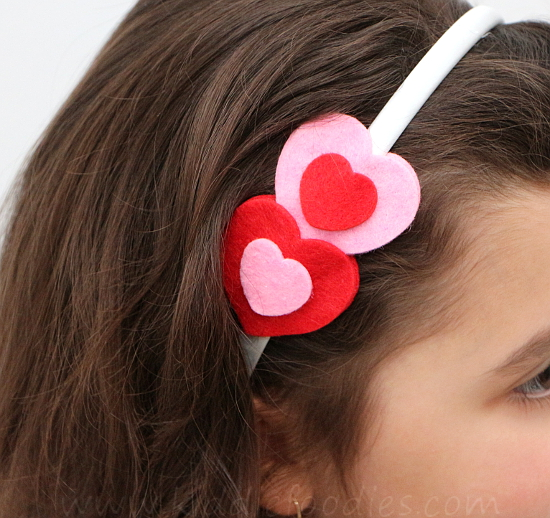 Felt hearts headband tutorial