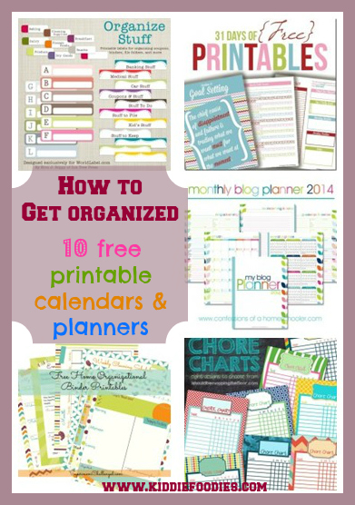 How to get organized - 10 free printable calendars and planners  #organize, #planning, #schedule, #organization, #organizing, #organization diy
