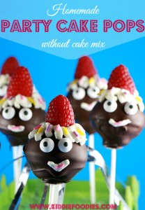 Party pops, homemade cake pops recipe without cake mix, great for kids party, #cakepops, #kidsparty, #cakepopsrecipe