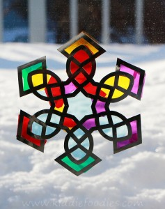 Suncatcher snowflake craft for kids step2a