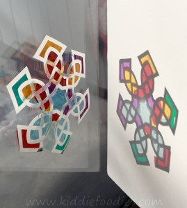 Suncatcher snowflake craft for kids step2b