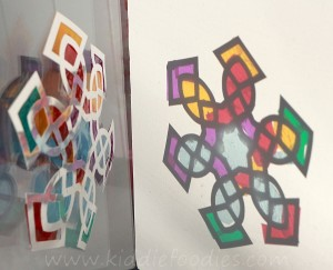 Suncatcher snowflake craft for kids step2c