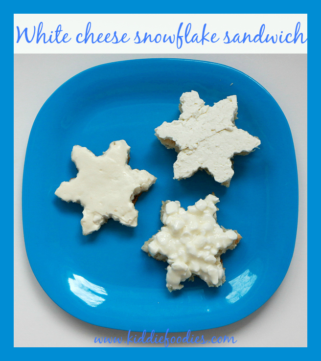 White cheese snowflake shaped sandwich, healthy breakfast idea for kids
