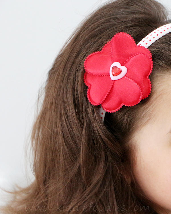 Red heart flower headband