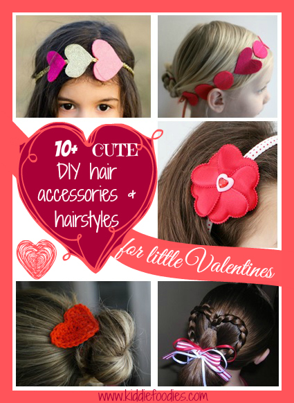 10+ cute DIY hair accessories & hairstyles for little Valentines, #hairaccessories, #hairstyles, #valentinesideas