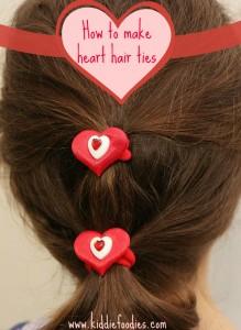 How to make heart hair ties for Valentine's Day - tutorial, #valentinesideas, #heartties, #hearthairtie, #hairaccessoires