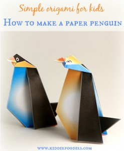 Simple origami for kids - how to make a paper penguin, #origami, #origamiforkids, #penguincraft, #paperpenguin