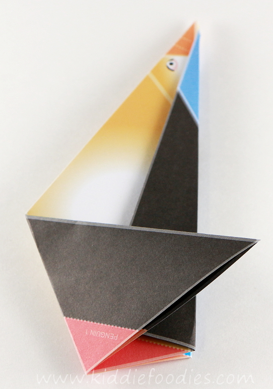 Simple origami for kids - how to make a paper penguin step3a