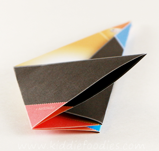Simple origami for kids - how to make a paper penguin step3b