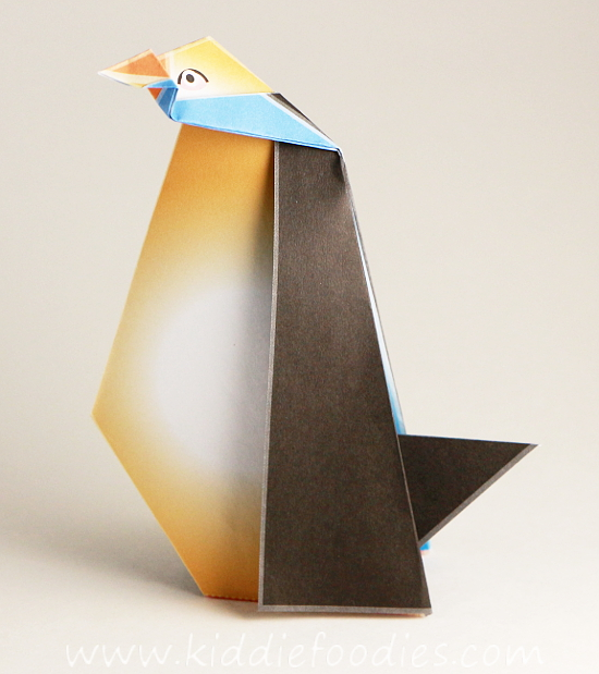 Simple origami for kids - how to make a paper penguin step6b