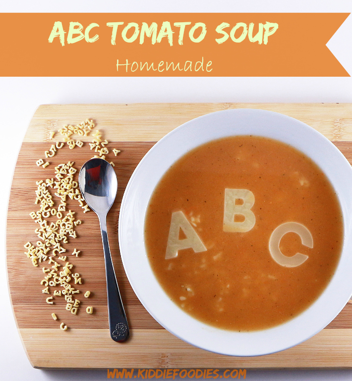 Homemade ABC tomato soup for kids