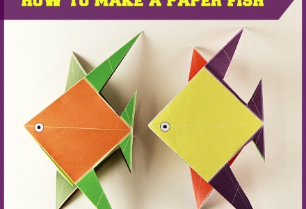 Simple origami for kids - how to make a paper fish tutorial #origami, #fish