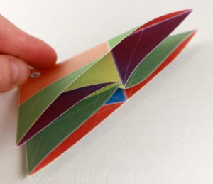 Simple origami for kids - how to make a paper fish tutorial step3b