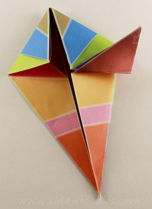Simple origami for kids - how to make a paper bird tutorial step3b