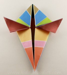 Simple origami for kids - how to make a paper bird tutorial step3c