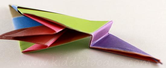 Simple origami for kids - how to make a paper bird tutorial step4c