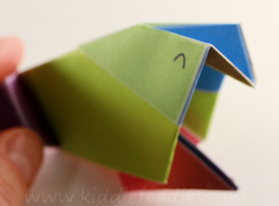 Simple origami for kids - how to make a paper bird tutorial step5a