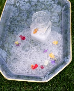 Science Activity Baking Soda and Vinegar Volcano with Flowers step15