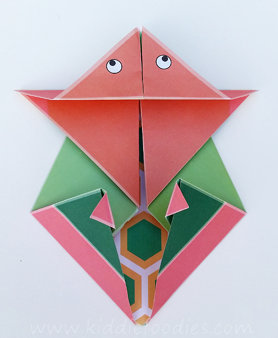 Simple origami for kids - how to make a paper turtle tutorial step4