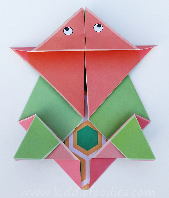 Simple origami for kids - how to make a paper turtle tutorial step5