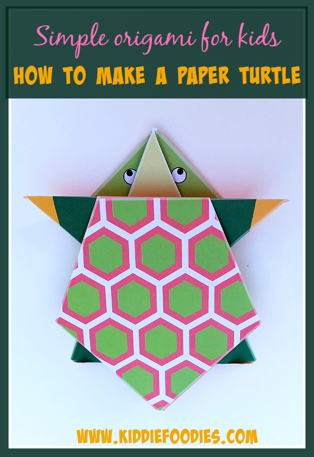 Simple origami for kids - how to make a paper turtle tutorial